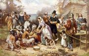 Headdress Photos - Pilgrims: Thanksgiving, 1621 by Granger
