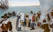 Mayflower Beach Prints - Pilgrims Washing Day, 1620 Print by Granger