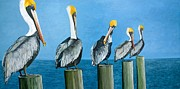 Pelican Painting Originals - Piling On by Jon Ferrentino