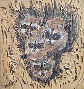 Trees Pyrography Originals - Piling on Mom by Margaret G Calenda