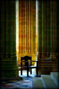 Christendom Framed Prints - Pillars and Chair at Mont St Michel Framed Print by Susie Weaver