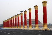 Red And Gold Prints - Pillars at Tiananmen Square Print by Carol Groenen