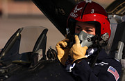 Helmet  Prints - Pilot Prepares To Take Off In An F-16 Print by Stocktrek Images