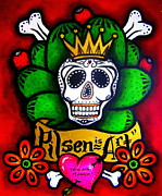 Sugar Skull Drawings Posters - Pilsen is Art Poster by Laura and Karina Gomez