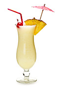 Isolated Prints - Pina colada cocktail Print by Elena Elisseeva