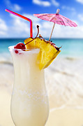 Curved Prints - Pina colada cocktail on the beach Print by Elena Elisseeva