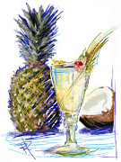 Alcohol Mixed Media Posters - Pina Colada Poster by Russell Pierce