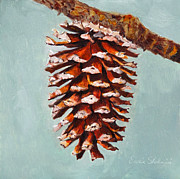 Fine Art - Seasonal Art Prints - Pine Cone Print by Enzie Shahmiri