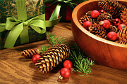 Silver Bowl Prints - Pine cones and christmas balls  Print by Sandra Cunningham