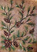 Branches Pastels Prints - Pine Cones and Spruce Branches Print by Nancy Mueller