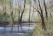 Forest Watercolor Art - Pine River Reflections by Ryan Radke