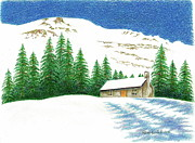 Mountain Cabin Drawings Posters - Pine Shadows Poster by Renee Goularte