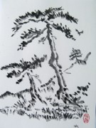 Roberto Prusso Art - Pine trees on Tokaido road by Roberto Prusso