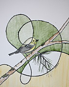 Warbler Mixed Media Metal Prints - Pine Warbler Metal Print by Kate Zamarchi
