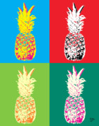 Popart Painting Prints - Pineapple 33 Print by Flo Ryan