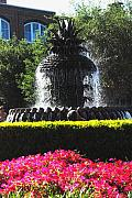 Lowcountry Framed Prints - Pineapple Fountain Charleston SC Framed Print by Susanne Van Hulst