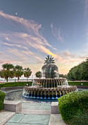 Architectural Garden Scene Posters - Pineapple Fountain Sunset - Charleston SC Poster by Drew Castelhano