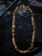 Pineapple Jewelry - Pineapple quartz facet nugget yellow topaz drop necklace by Jan Durand