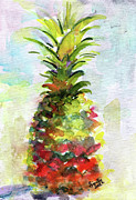Tropical Fruit Paintings - Pineapple Study Watercolor by Ginette Fine Art LLC Ginette Callaway
