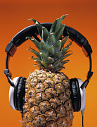 Headphones Framed Prints - Pineapple Wearing Headphones Framed Print by Philip Haynes