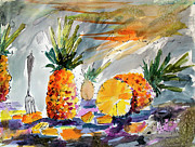 Watercolor And Ink Paintings - Pineapples Still Life by Ginette Callaway