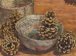 Baskets Painting Posters - Pinecones Poster by Catherine G McElroy