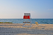 Life Guard Prints - Piney Point Beach Print by Bill Cannon