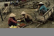 Food Vendors Framed Prints - Pingxiang Street Scene, Hand Carts Framed Print by Raymond Gehman