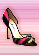 Pumps Painting Prints - Pink and Black Stripe Shoe Print by Elaine Plesser
