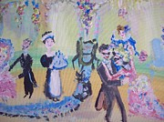 Ballroom Dance Paintings - Pink and blue ball by Judith Desrosiers
