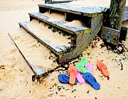 Heron Digital Art Originals - Pink and Blue Flip Flops by the Steps by Michael Thomas