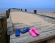 Crimson Tide Prints - Pink and Blue Flip Flops on the dock Print by Michael Thomas
