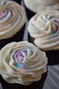 Frosting Prints - Pink and Blue Sparkles Print by Bonnie Myszka