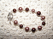 Sparkly Jewelry - Pink and Brown Glass Bead Bracelet by Megan Brandl