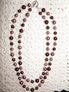 Sparkly Jewelry - Pink and Brown Glass Bead Necklace by Megan Brandl