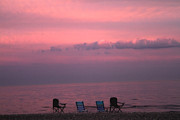 Empty Chairs Art - Pink and Deserted by Karol  Livote