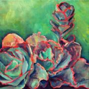 Succulent Prints - Pink and Frilly Print by Athena  Mantle