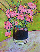 Impressionist Vase Floral Paintings - Pink and Green by Blenda Studio
