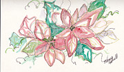 Christmas Notecard Originals - Pink And Green by Michele Hollister - for Nancy Asbell