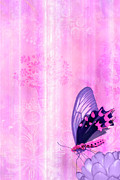 Home Paintings - Pink and Purple Butterfly Companions 2 by JQ Licensing