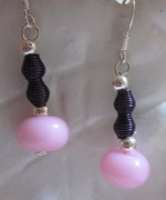 Abstract Jewelry - Pink and Purple Dangle Earrings by Janet  Telander