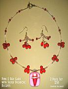 Music Jewelry - Pink and Red Necklace with Silver Dichroic Accents by Michelle Lake