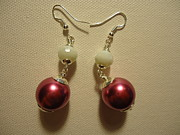 Silver Earrings Jewelry Metal Prints - Pink and White Ball Drop Earrings Metal Print by Jenna Green