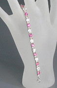 Sterling Silver Bracelet Art - Pink and White Topaz Bracelet by Robin Copper