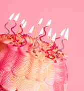 Frosting Prints - Pink and Yellow Birthday Cake Print by Anne Kitzman