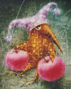 Surrealistic Prints - Pink  Apples Print by Lolita Bronzini