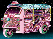 Traditional Culture Digital Art - Pink Auto Rickshaw by Yosuke