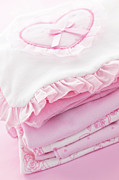 Garment Photos - Pink baby clothes for infant girl by Elena Elisseeva
