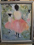 Ballet Dancers Painting Framed Prints - Pink Ballet Framed Print by Les Smith