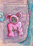 Demon Mixed Media Framed Prints - Pink Bear Suit Framed Print by Jera Sky